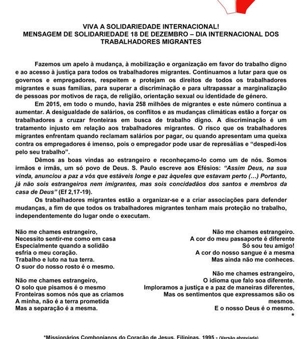 VIVA A SOLIDARIEDADE INTERNACIONAL! MENSAGEM DE SOLIDARIEDADE 18 DE DEZEMBRO – DIA INTERNACIONAL DOS TRABALHADORES MIGRANTES